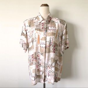 Vintage KATIES Earthy Abstract Button Up Shirt